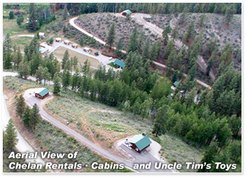 Aerial view of Chelan Rentals &middot Cabins and Uncle Tim's Toys